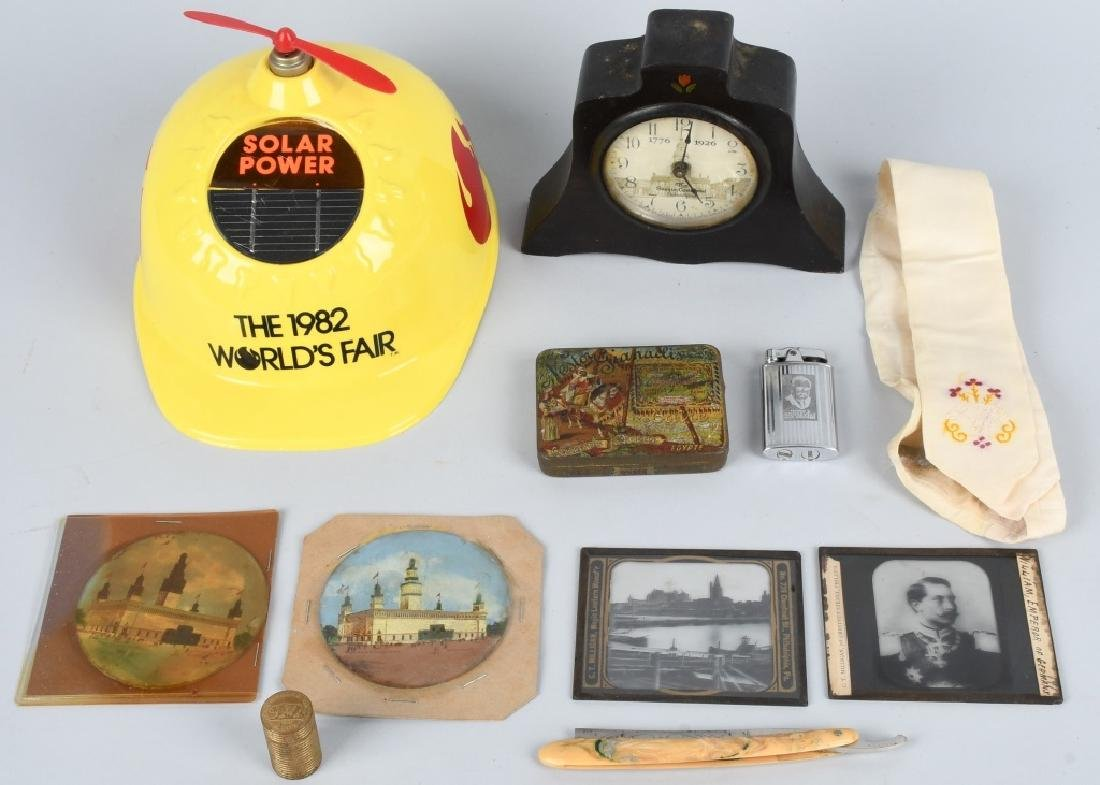 LOT WORLD'S FAIR, CLOCK, TIN and MORE