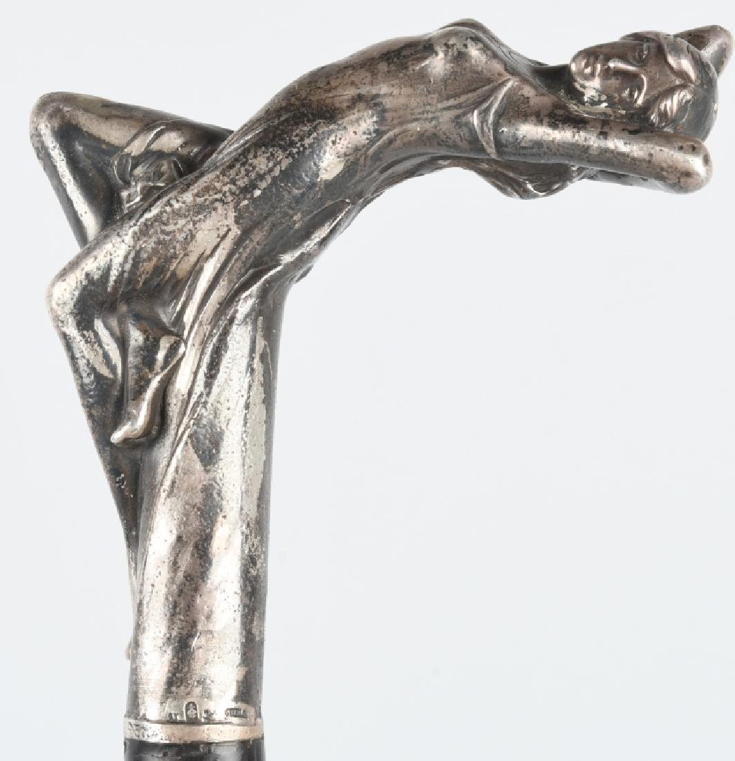 ART NOUVEAU STERLING SILVER SENSUAL LADY CANE