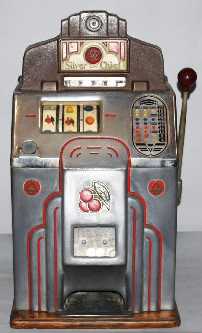 JENNINGS 5c SILVER CHIEF SLOT MACHINE