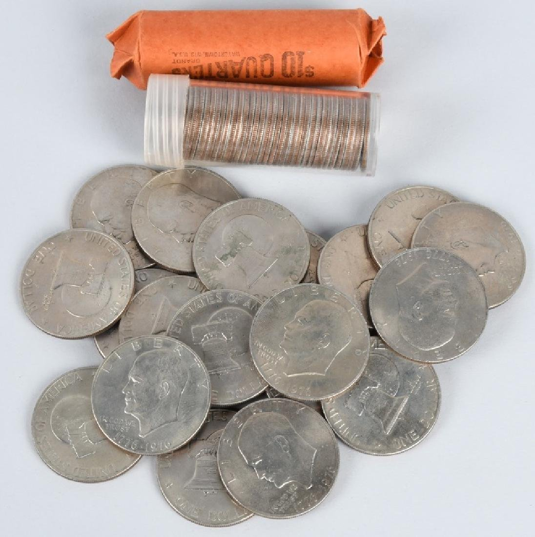 1976 20 IKE DOLLARS, & 80 QUARTERS UNC