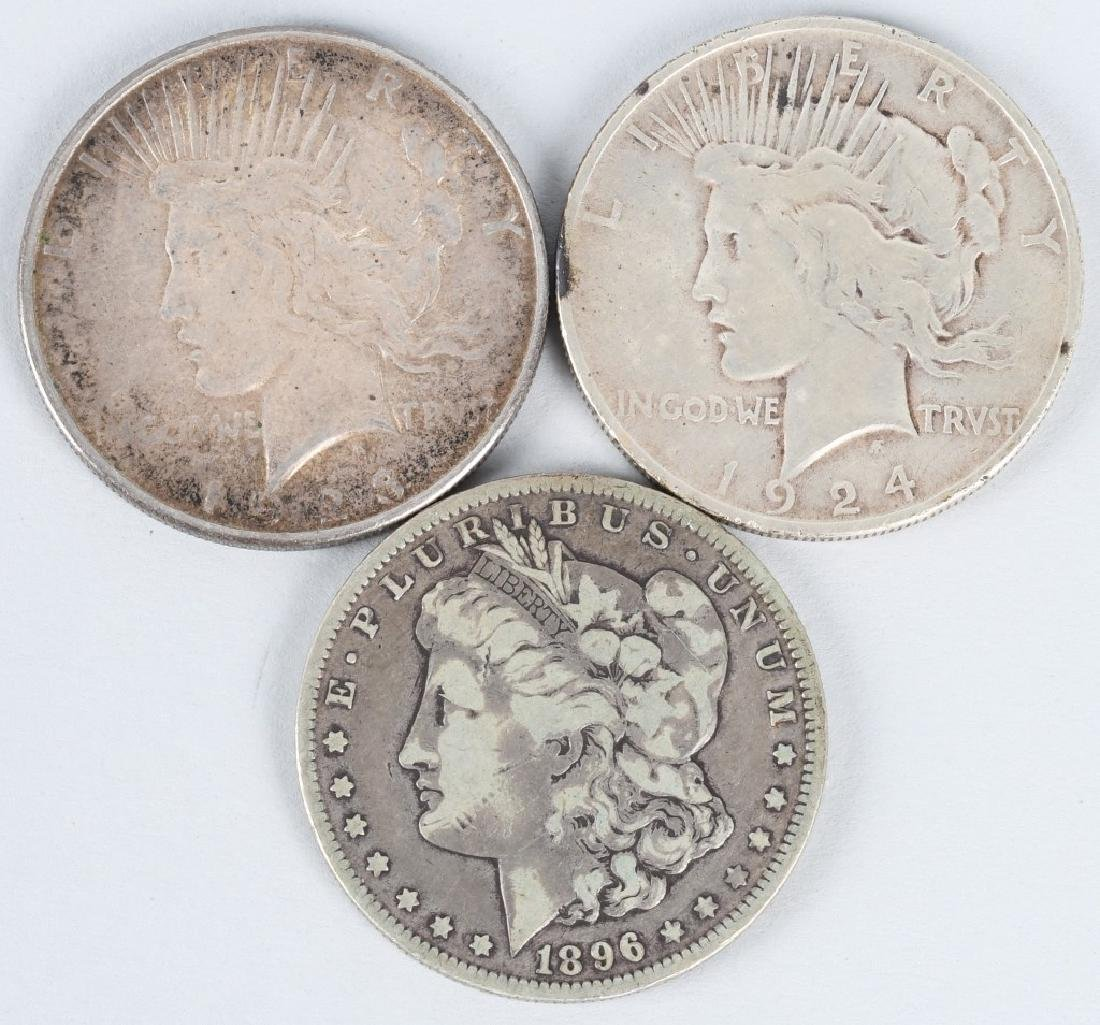 2- PEACE SILVER DOLLARS & MORGAN SILVER DOLLAR