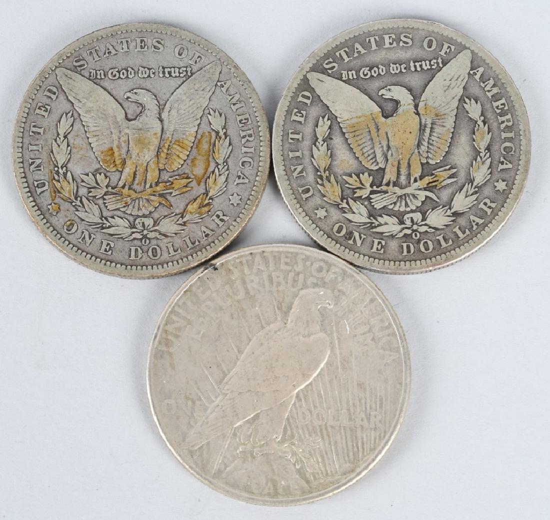 2 MORGAN SILVER DOLLARS & PEACE SILVER DOLLAR - 2