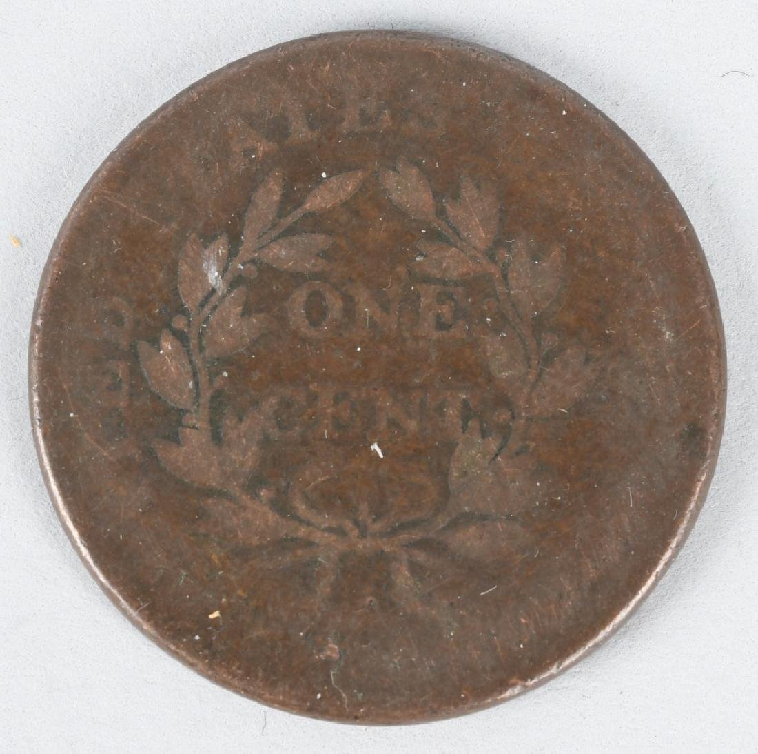 1807 over 6 DRAPPED BUST LARGE CENT ERROR COIN - 2