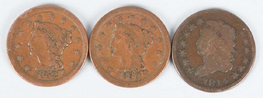 3- LARGE CENTS 1852-1850-1814