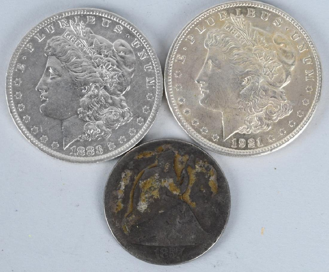 2- MORGAN SILVER DOLLARS & SEATED HALF DOLLAR