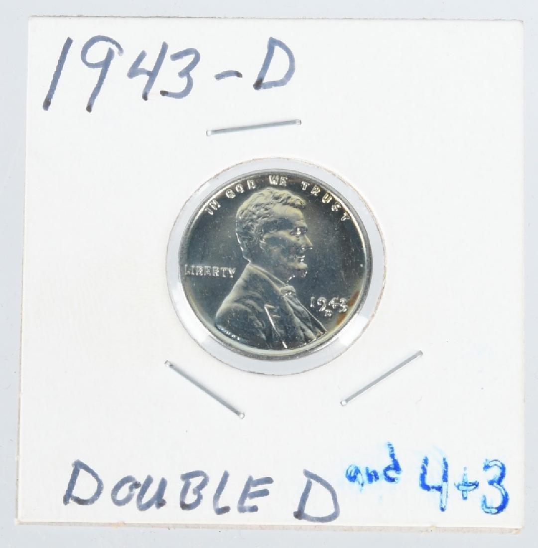 1943-D STEEL PENNY ERROR DOUBLE DIE w/ 3,4, & D