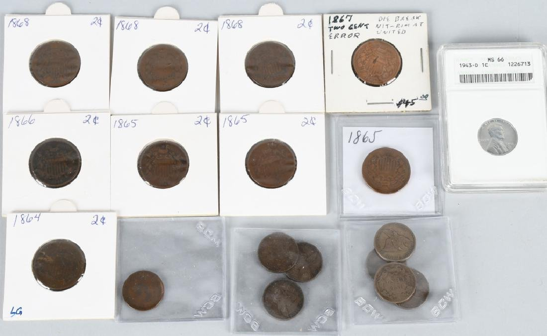1 & 2 CENT US COIN LOT FLYING EAGLE