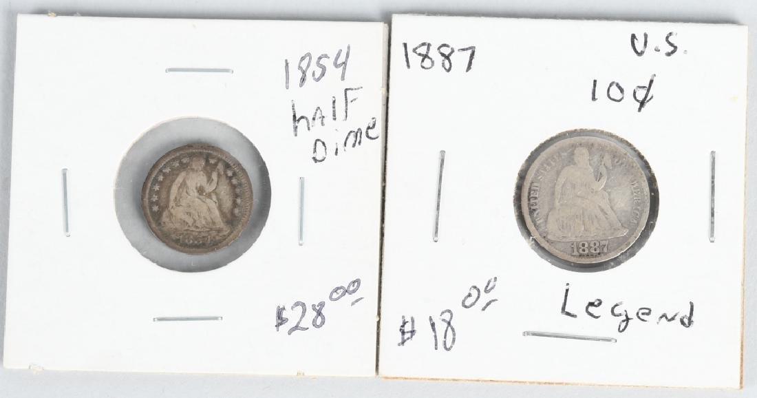 23 pc US HALF DIME & DIME LOT1854-1916 PCGS - 4