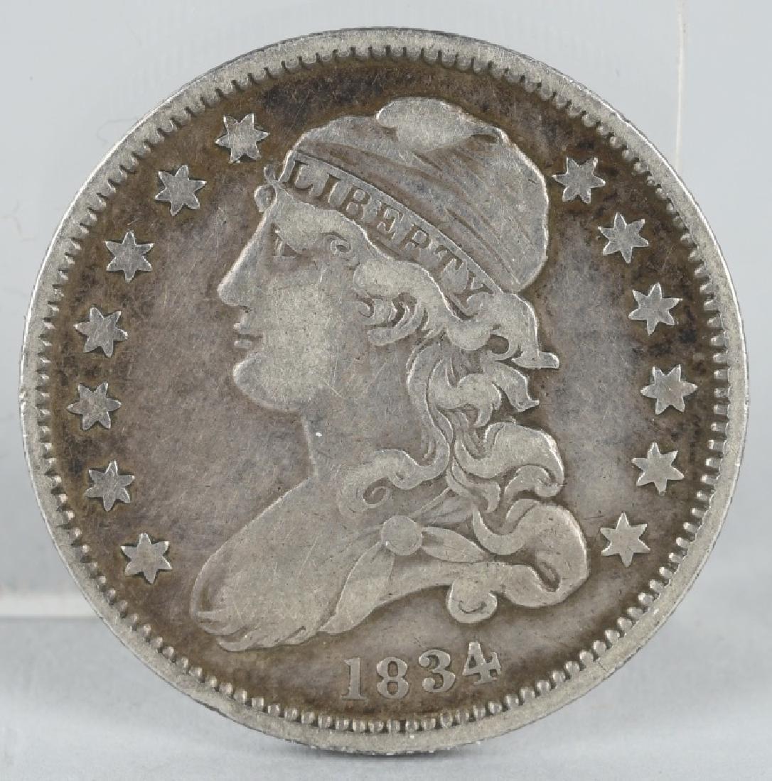 1834 US BUST QUARTER VF