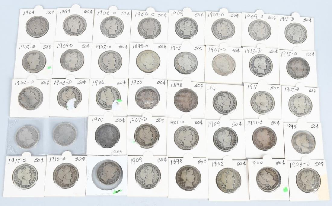 40- US BARBER HALF DOLLARS $20 face value