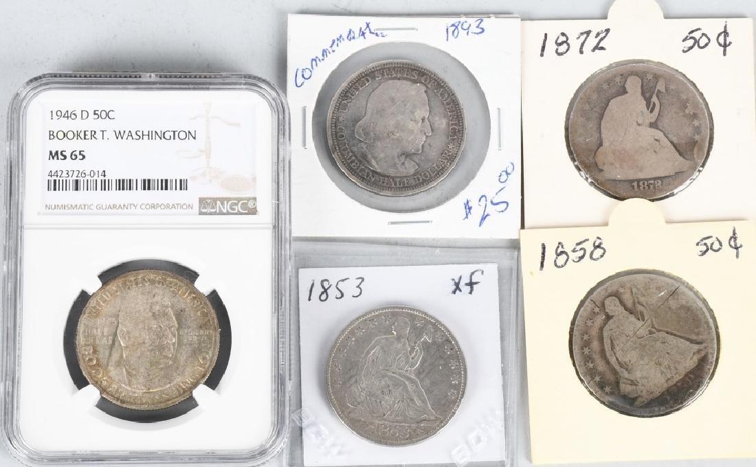 5- US HALF DOLLARS 1853-1946 NGC