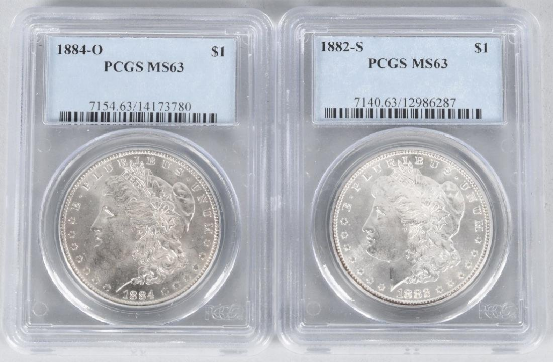 2- PCGS MS63 US SILVER DOLLARS 1882-S 1884-O