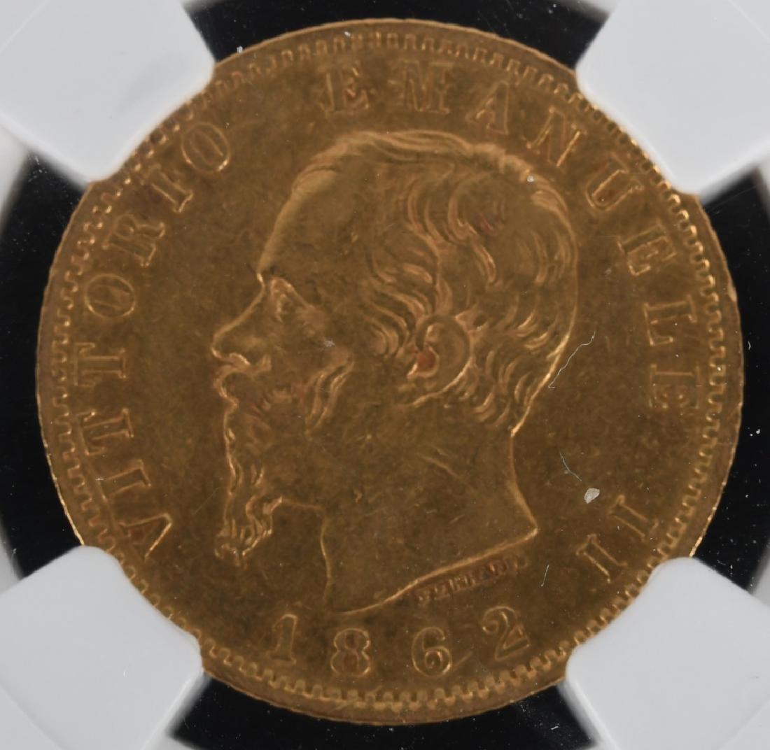 NGC XF45 1862 Italy Gold 20 Lire - 3