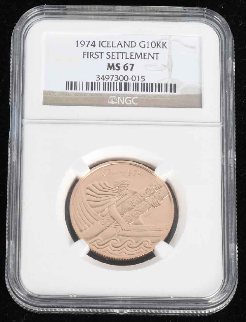 1974 Iceland Gold 10,000 Kronur NGC MS67