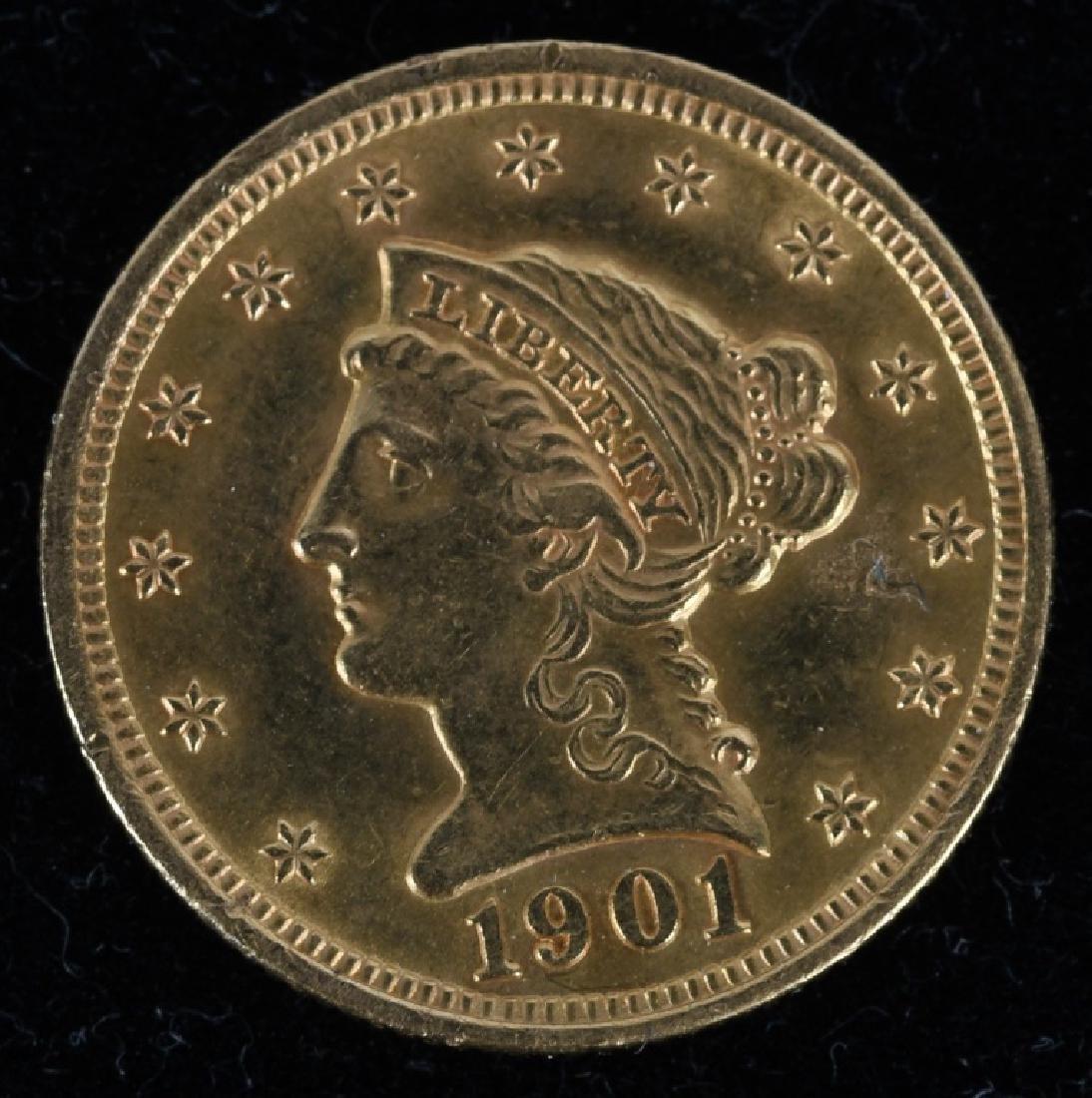 1901 $2.50 Liberty Gold Quarter Eagle XF-AU