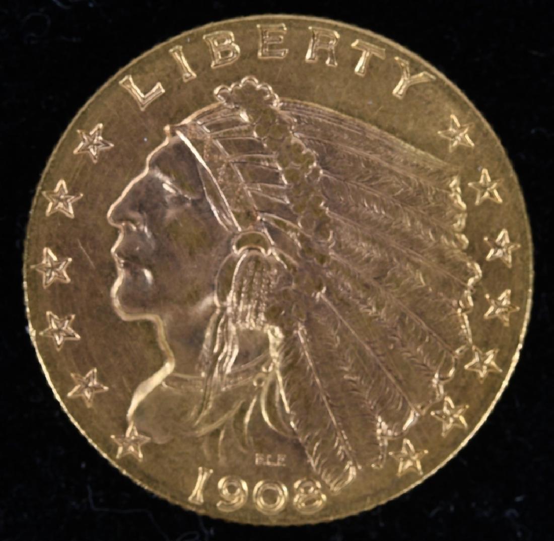 1908 $2.50 Indian Gold Quarter Eagle