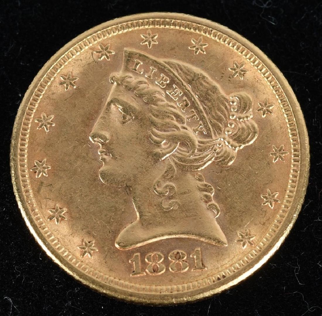 1881 $5 Liberty Gold Half Eagle