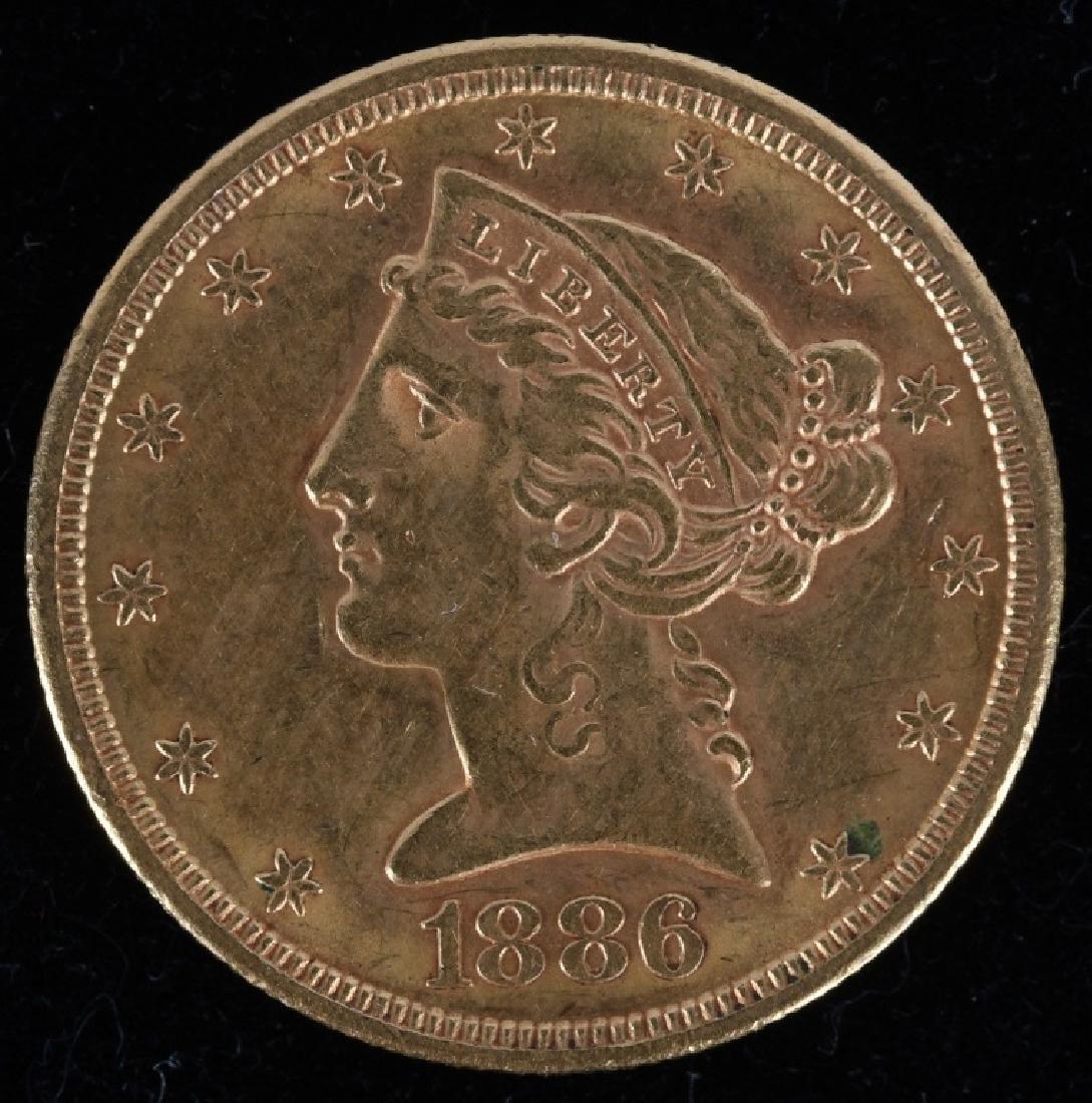 1886-S $5 Liberty Gold Half Eagle