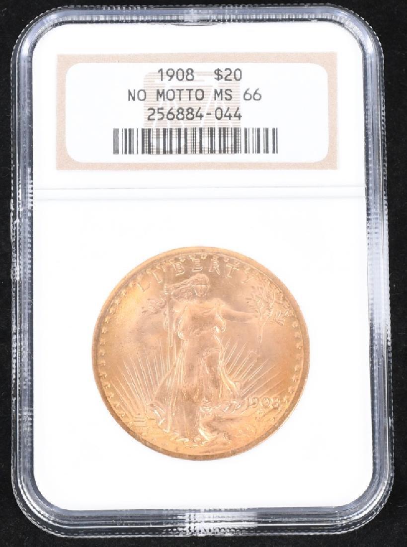 1908 $20 Saint-Gaudens Gold Double Eagle, MS66