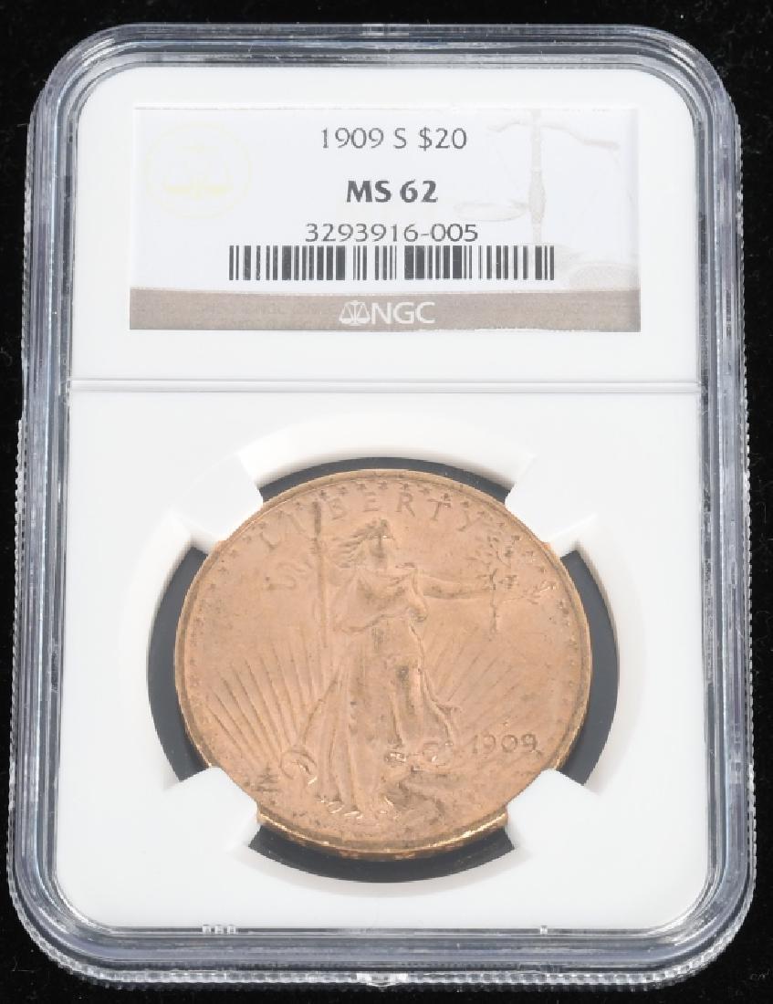 1909-S MS62 $20 Saint-Gaudens Gold Double Eagle