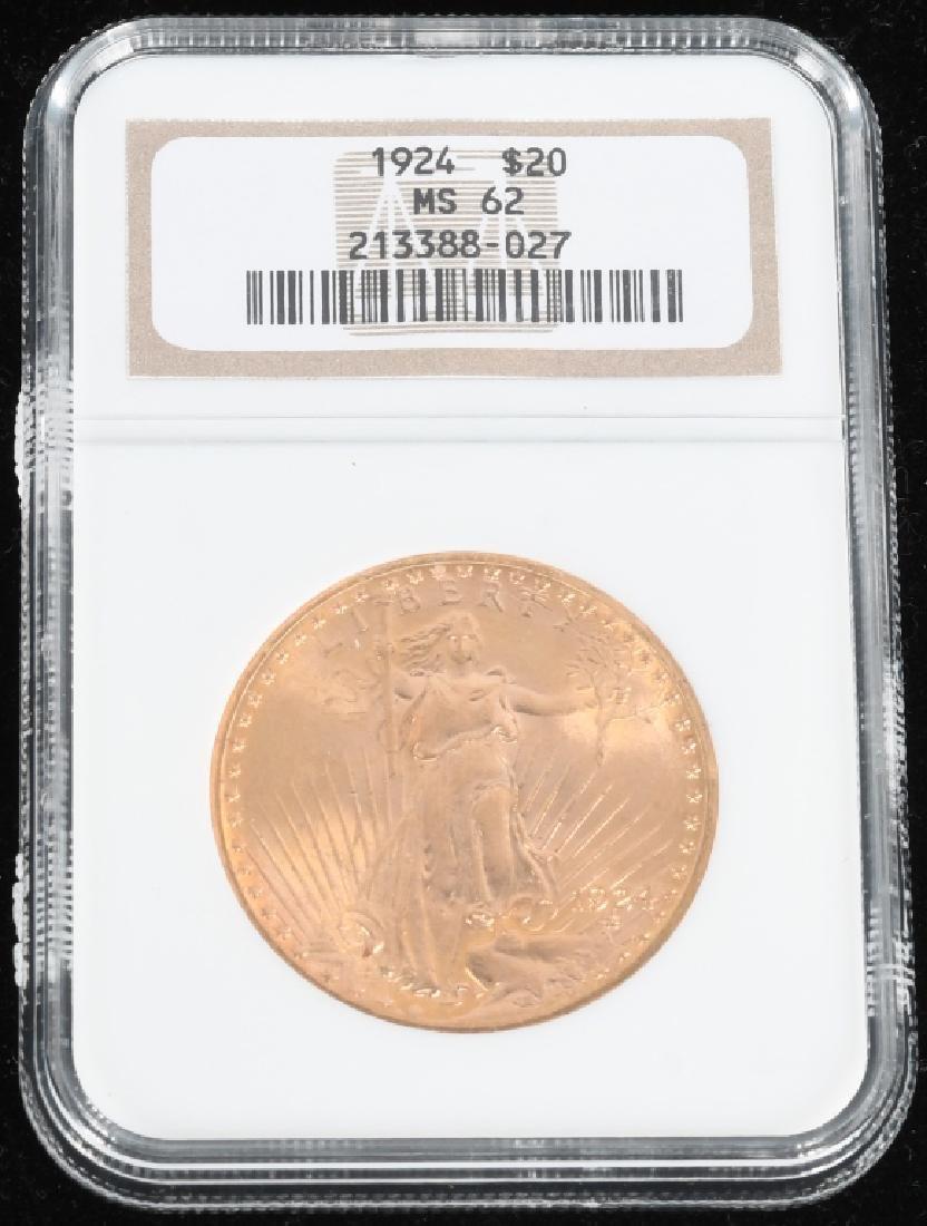 1924 NGC MS62 $20 Saint-Gaudens Gold Double Eagle