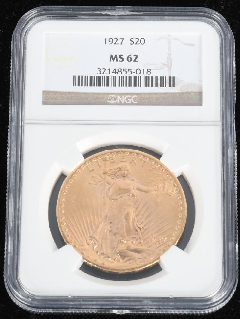 1927 MS62 $20 Saint-Gaudens Gold Double Eagle