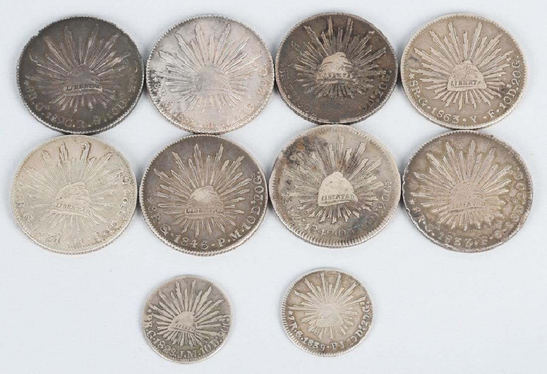 8-SILVER 8 REALES COINS, & 2-2 REALES COINS