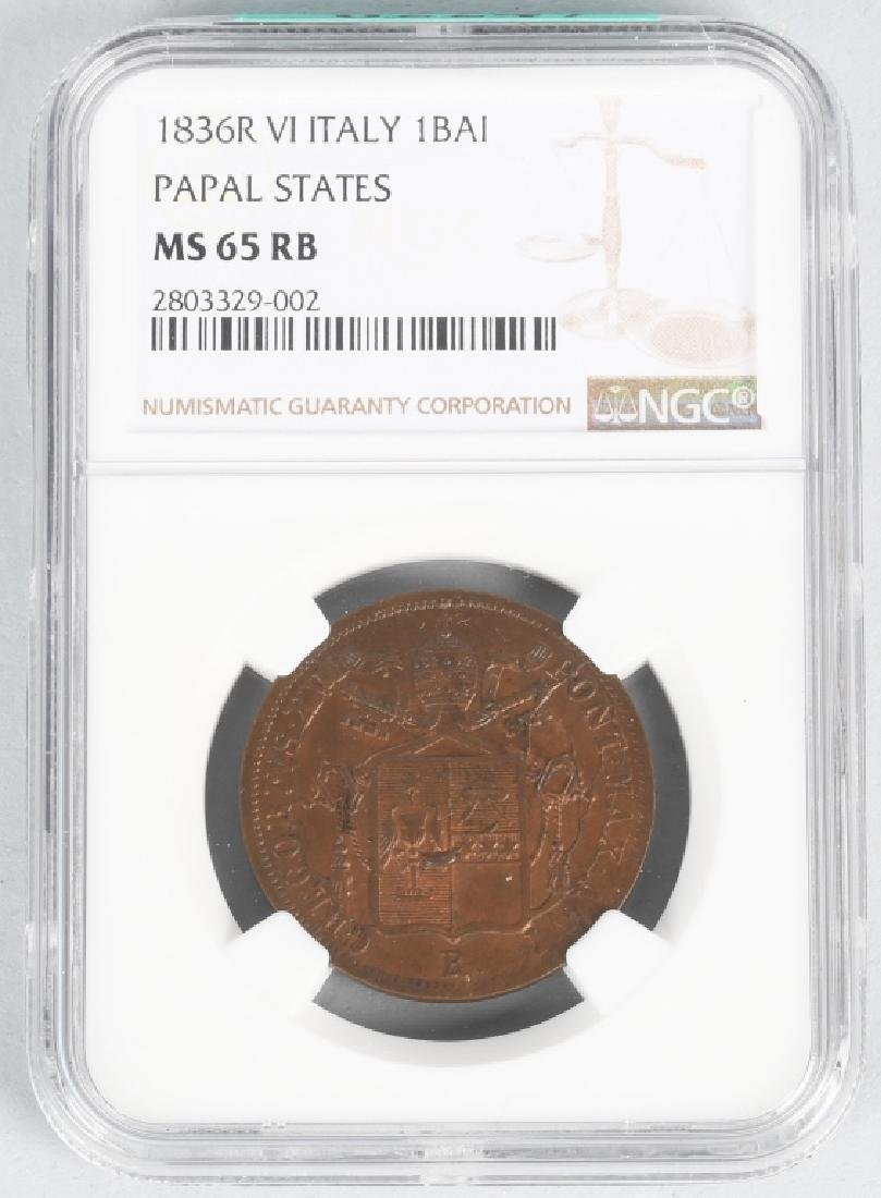 1836 R VI ITALY PAPAL STATES COIN, NGC, MS 65