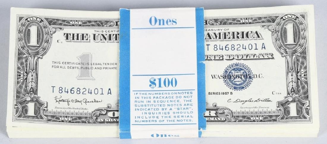 100-SERIES 1957 SILVER CERTIFICATES, CONSECUTIVE