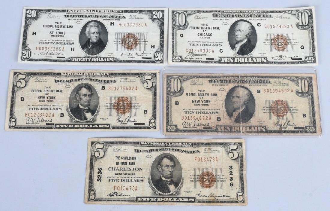 5-SERIES 1929 NATIONAL CURRENCY NOTES