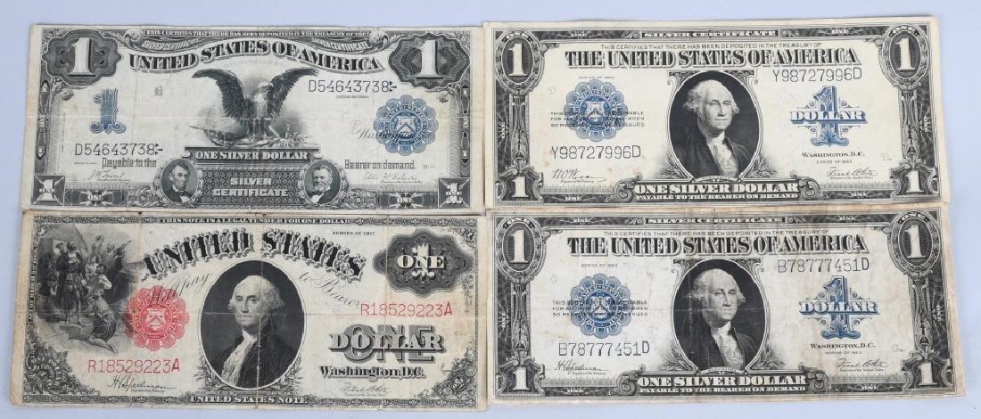 4-LARGE SIZE $1.00 NOTES, 1899, 1917 & 1923