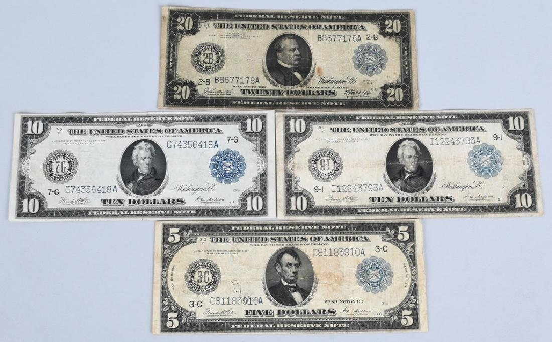 4-SERIES 1914 LARGE SIZE NOTES, $5, $10 & $20