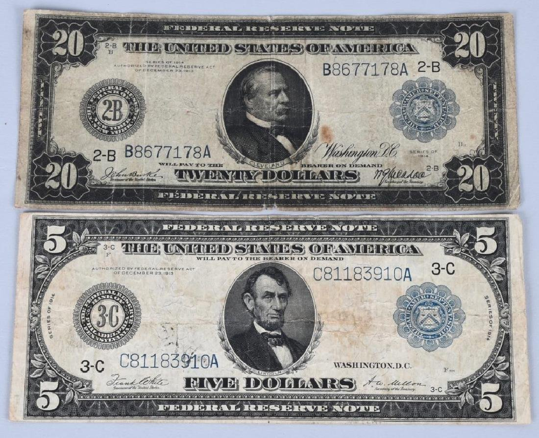 4-SERIES 1914 LARGE SIZE NOTES, $5, $10 & $20 - 4