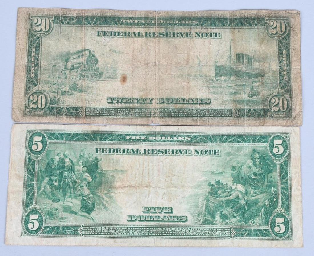 4-SERIES 1914 LARGE SIZE NOTES, $5, $10 & $20 - 5