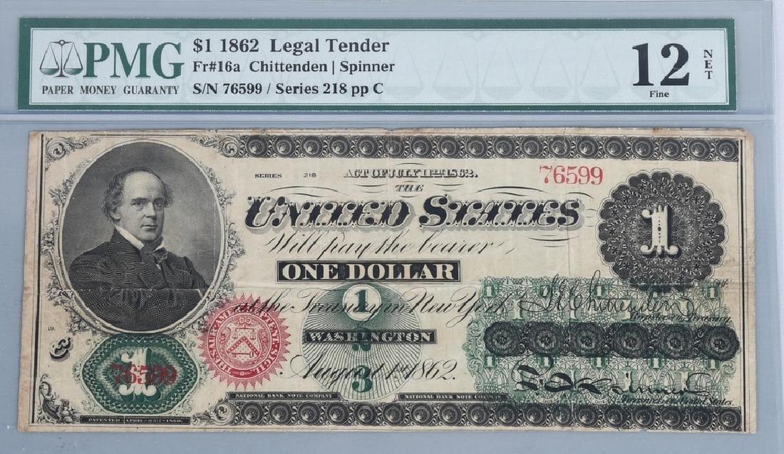 1862 $1.00 CHITTENDEN / SPINNER NOTE, PMG, F12