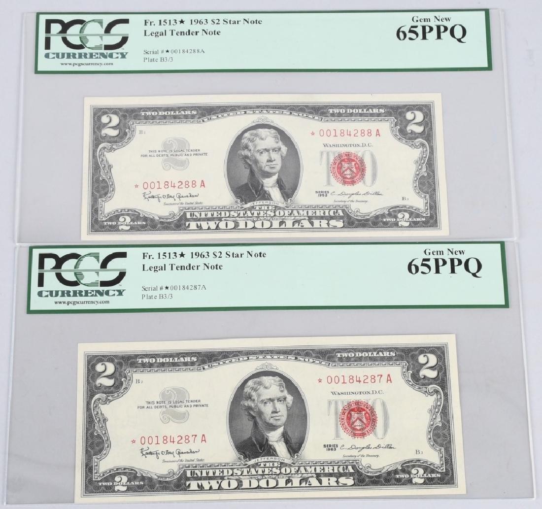 2- Fr. 1513* 1963 $2 STAR NOTES PCGS65PPQ GEM NEW