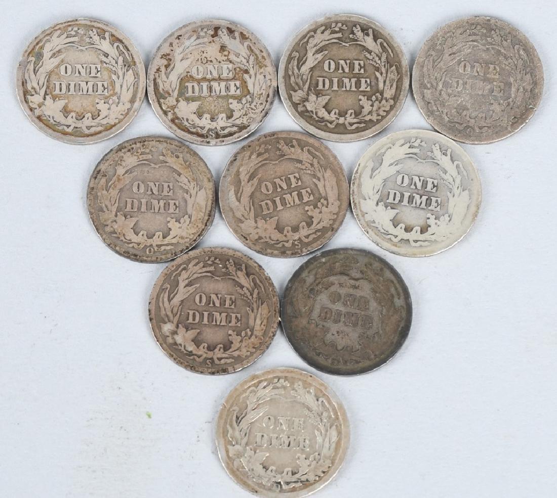 45- BARBER SILVER DIMES 1892-1915 O D S MINTS - 3
