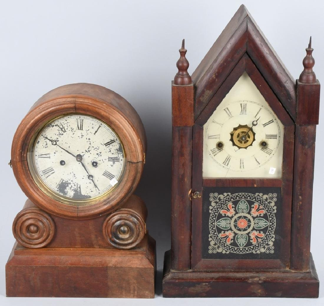 2-ANTIQUE SHELF CLOCKS, ANSONIA, & INGRAHAM