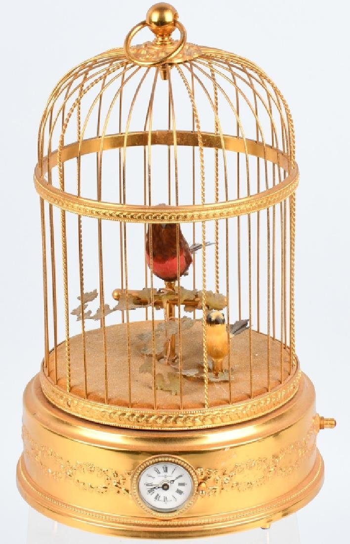 REUGE VINTAGE 2 BIRD CAGE MUSIC BOX with CLOCK