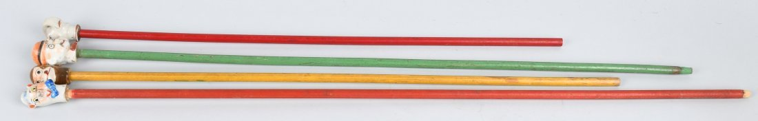 4- EARLY BISQUE HEAD CHARACTER CANES - 6