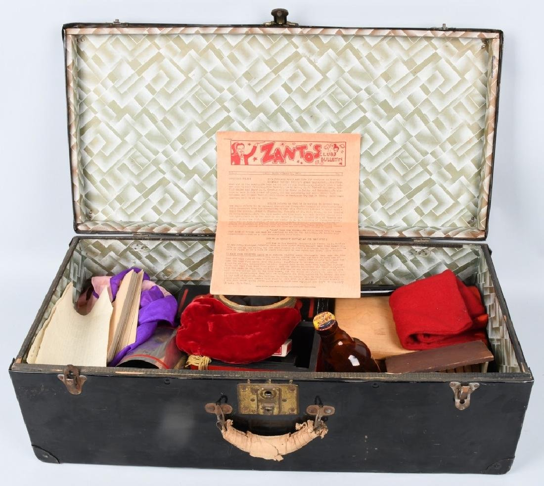 46VINTAGE MAGICIANS TRUNK OF MAGIC TRICKS