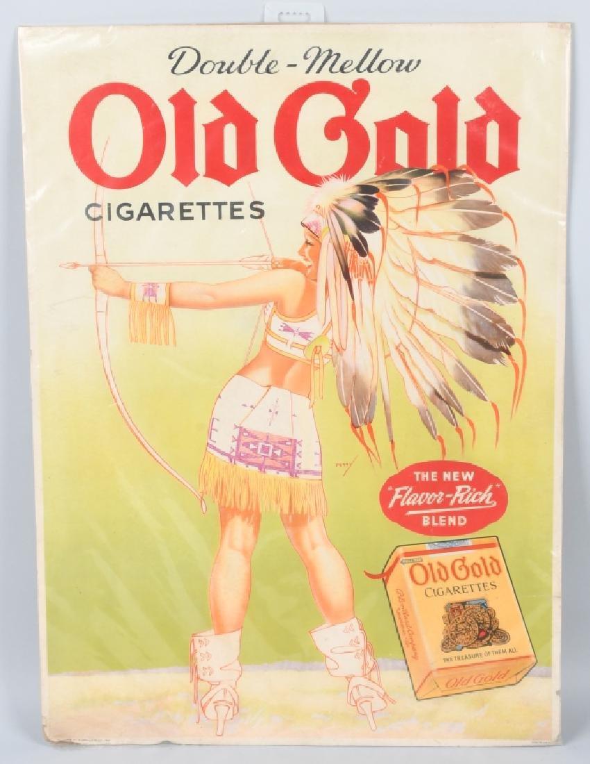 OLD GOLD CIGARETTES PINUP INDIAN GIRL SIGN