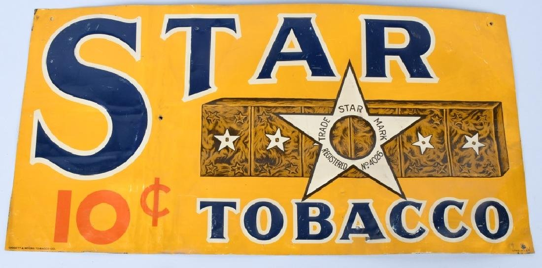 STAR TOBACCO EMBOSSED TIN SIGN