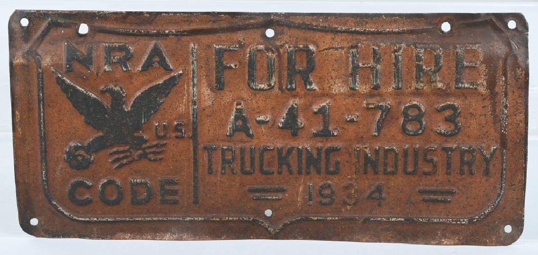 1934 NRA FOR HIRE TRUCK LICENSE PLATE