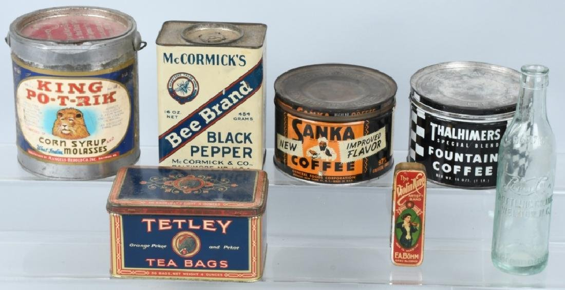 EARLY COFFEE TINS, PEPSI BOTTLE, & MORE