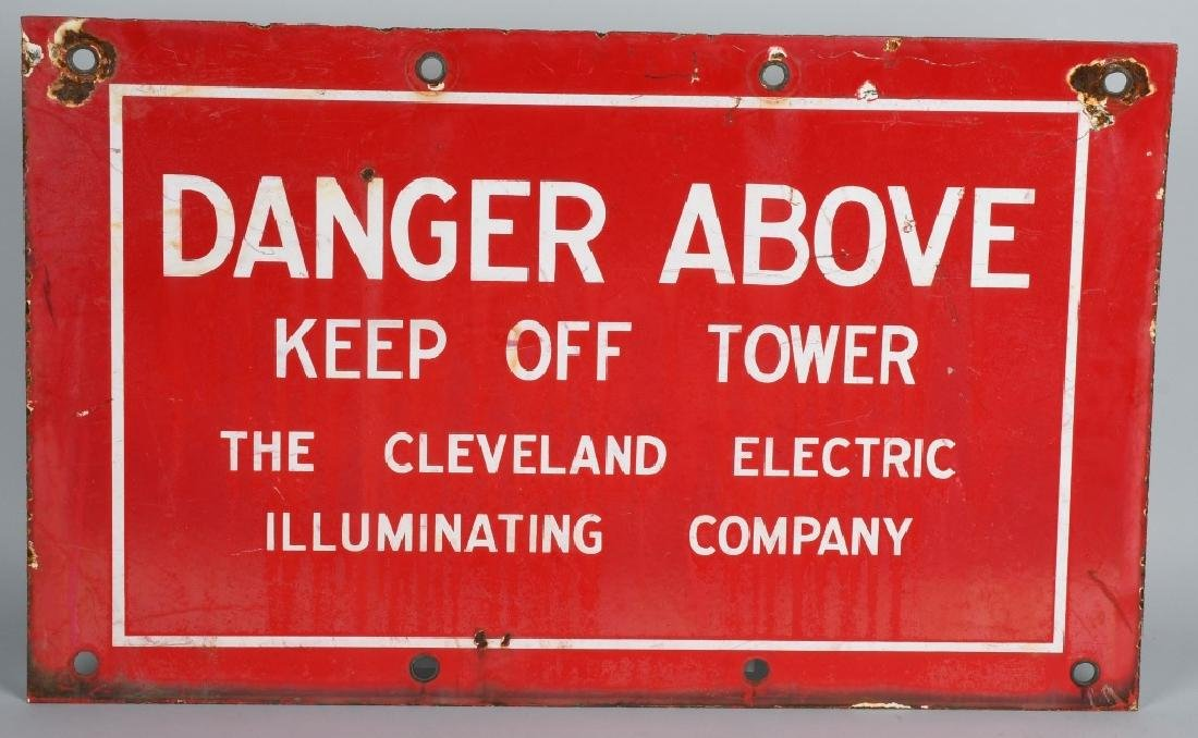 CLEVELAND ILLUMINATING DANGER PORCELAIN SIGN