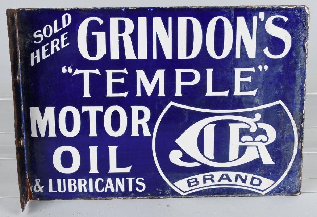 GRINDON'S TEMPLE MOTOR OIL DS PORCELAIN SIGN