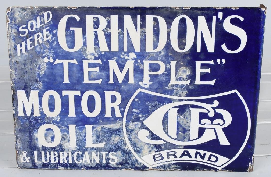 GRINDON'S TEMPLE MOTOR OIL DS PORCELAIN SIGN - 2