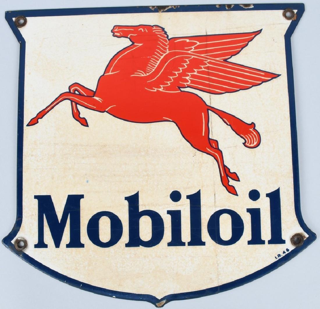 MOBILOIL PEGASUS SHIELD PORCELAIN PUMP SIGN