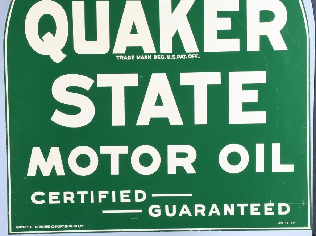 QUAKER STATE DS TOMBSTONE PORCELAIN SIGN w/ STAND - 10